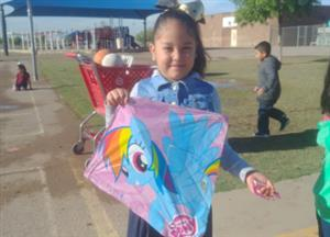 Kinder student and her kite