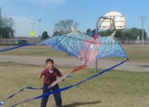 student with kite