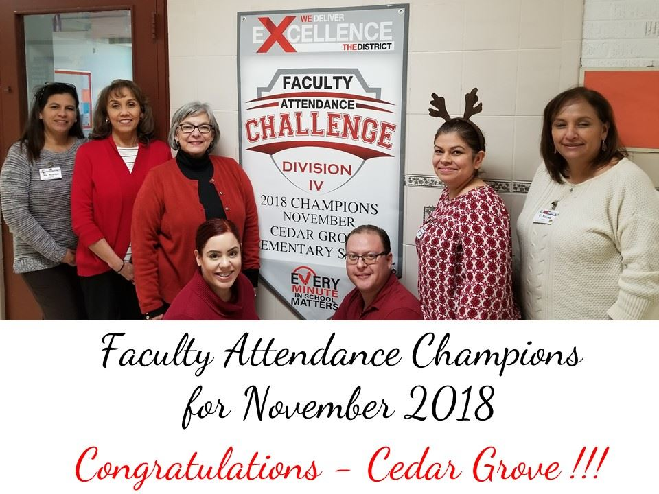 Cedar Grove teachers celebrate their accomplishment of receiving the YISD Faculty Attendance Challen