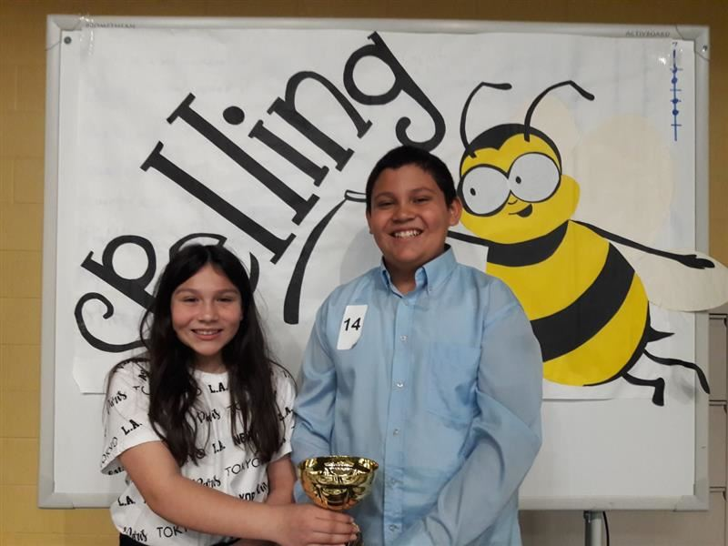 Spelling  Bee Champion and Second Place Winner