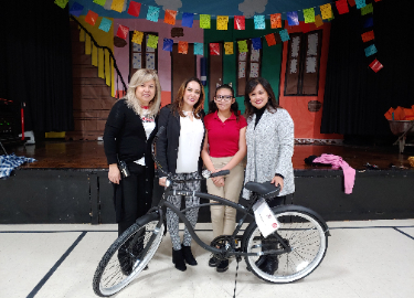 Sixth grade student Dulce won the Attendance Bike challenge!