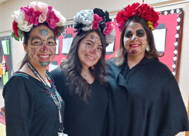 Second grade teachers dressed up for Halloween