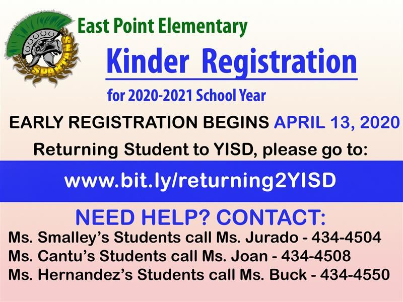 Kinder Registration for 2020-2021 School Year
