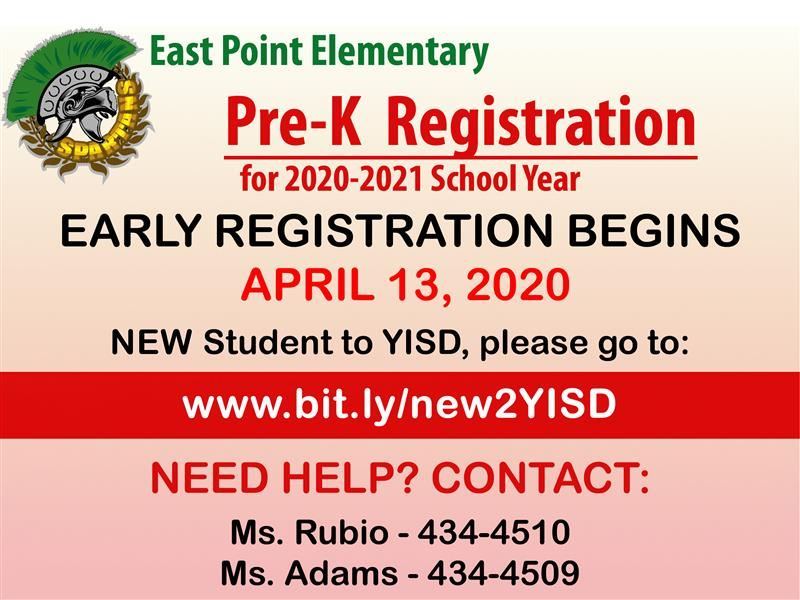 Pre-K Registration for the 2020-2021 School Year