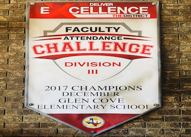 Glen Cove Elementary was #1 in faculty Attendance.