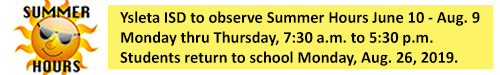 Summer Hours For YISD