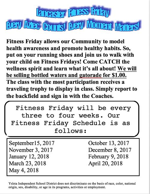 Fitness Friday Schedules