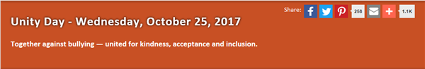 October 25, 2017 - Unity Day - Stand-Up Against Bullying