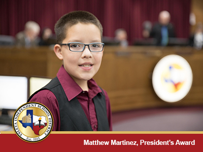 YISD School Board Honors 6th Grader Matthew Martinez
