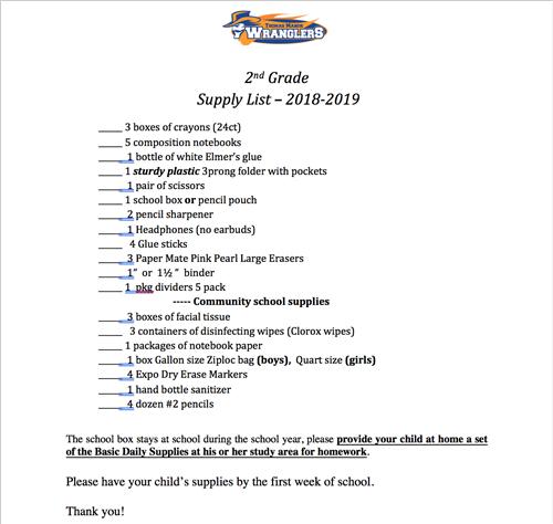 Student School Supply List / 2nd Grade School Supply List