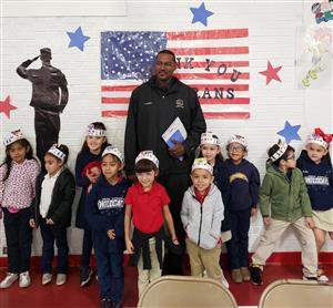 Veteran Mr. Parker with Mrs. Parker's Kinder class