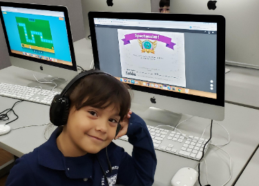 Proud student earning Certificate Hour of Code