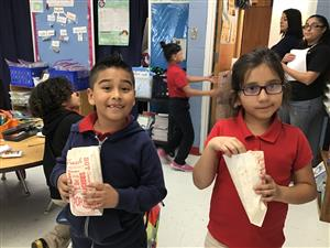 Students excited about their popcorn
