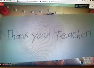 Online thank you to the teacher
