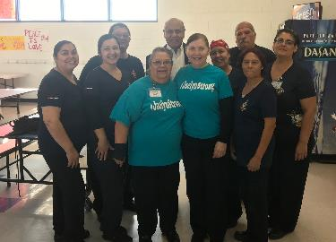 Scotsdale Cafeteria Staff with Board of Trustee member, Mr. Mike Rosales