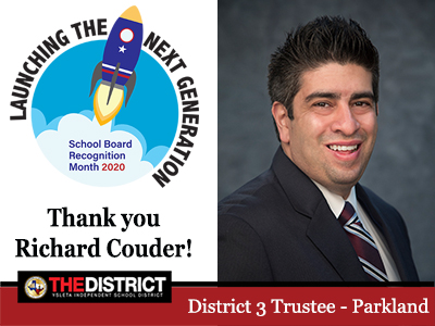 Leading students to success:  Thank you District 3 Trustee Mr. Richard Couder