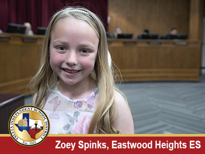 Eastwood Heights ES kinder student receives April President's Award