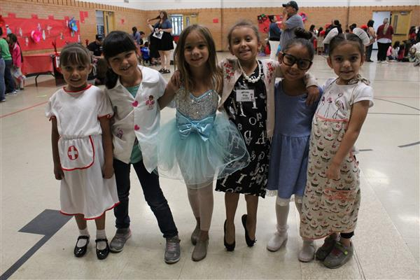 Kindergarten students dress up for Career Day.