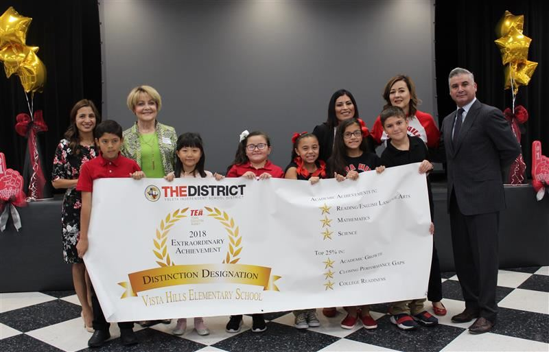 "Vista Hills was presented with the 2018 Extraordinary Achievement ""Distinction Designation"" Award for their Academic Achievements."