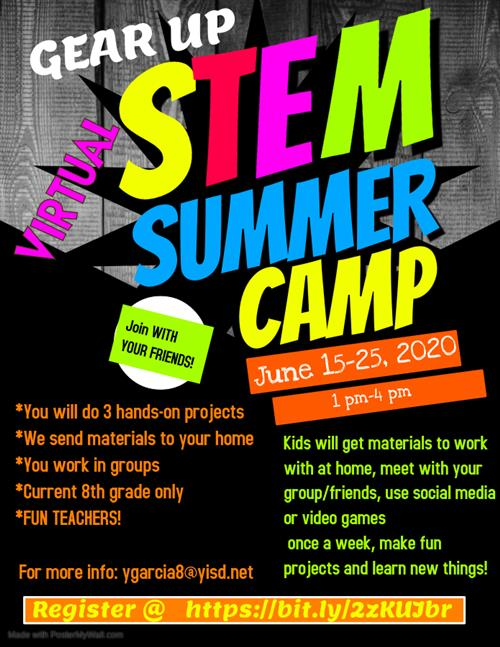 Flyer for Del Valle Summer Camp