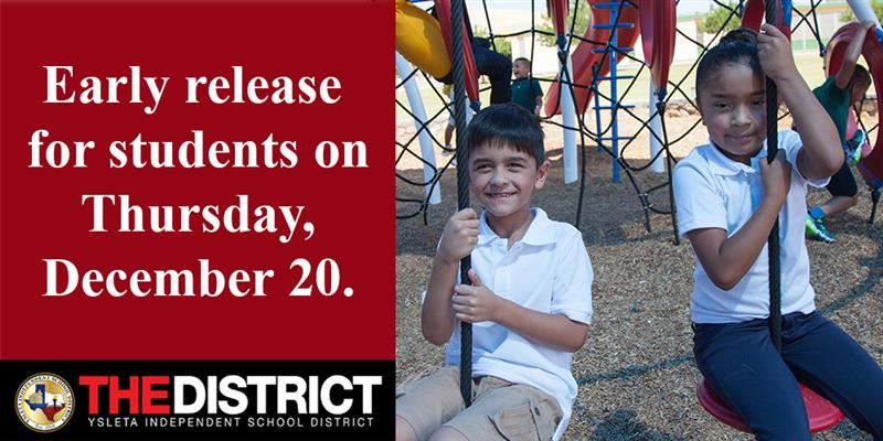 Early release for students on Thursday, December 20, 2018