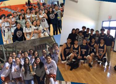 7th grade girls and 8th grade girls and boys pose with championship trophies