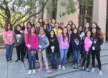RMS Female Students Pose for Group Picture at UTEP Girl Powered Event