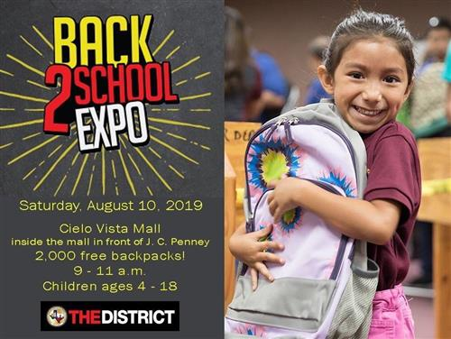 Back to school expo August 10th @ Cielo Vista Mall
