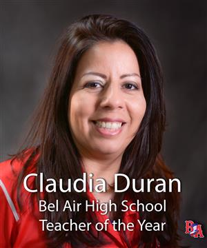 Claudia Duran Teacher of the year