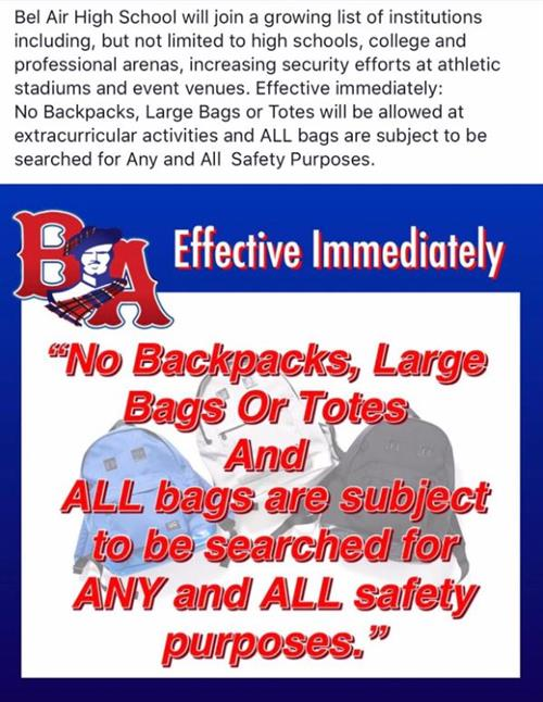 No Bags at Extracurricular Events