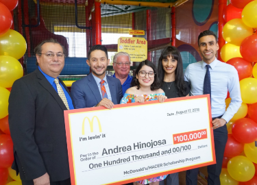 Andrea Hinojosa, one of five national recipients of a $100,000 award from the McDonalds HACER Scholarship Program