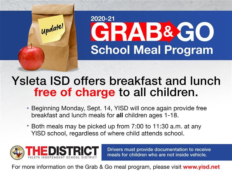 Beginning Monday, Sept. 14, YISD will once again provide free breakfast and lunch meals for all children ages 1-18.  Both mea