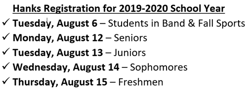 Hanks Registration for 2019-2020 School Year