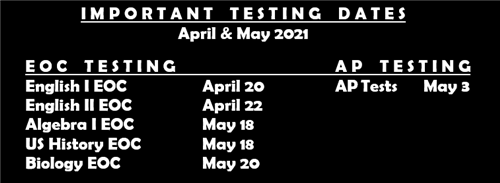 Important Testing Dates April May 2021
