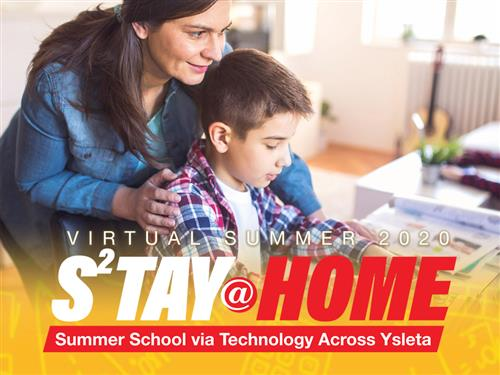 Virtual Summer 2020 Banner child with parent on computer