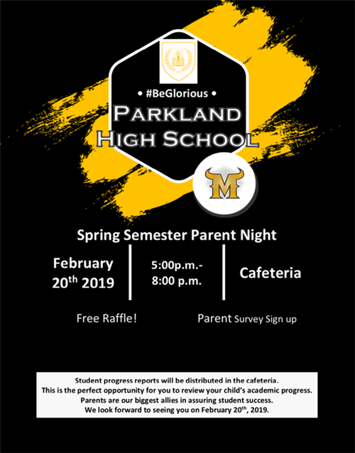 Parent Night February 20th 2019. 5pm to 8pm