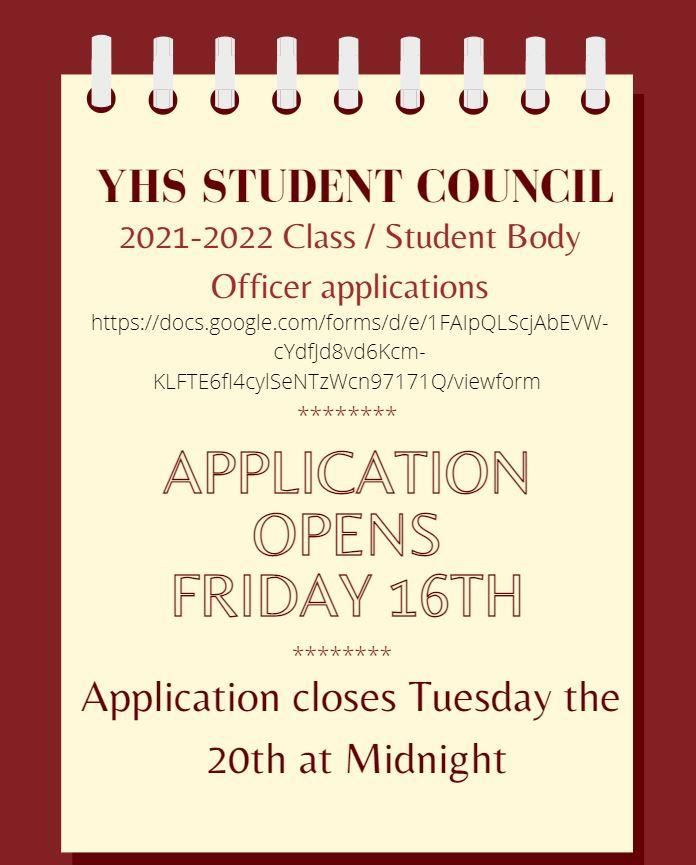 YHS Student Council Officer Applications